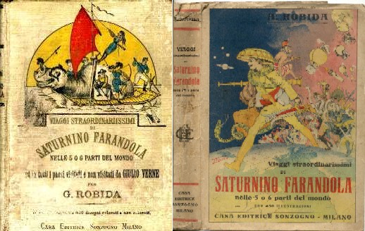copertina di Viaggi Straordinarissimi di Saturnino Farandola nelle 5 o 6 parti del mondo ed in tutti i paesi visitati e non visitati da Giulio Verne