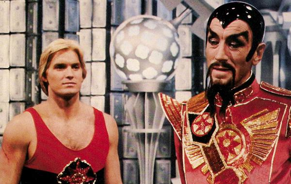 Sam J. Jones e Max von Sydow nel film del 1980 di Mike Hodges <i>Flash Gordon</i>