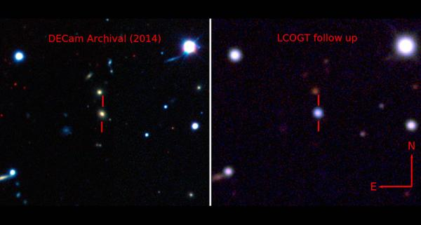 La galassia ospite di ASASSN-15lh prima (a sinistra nella ripresa della Dark Energy Camera) e dopo la sua esplosione (a destra, ripresa dal Las Cumbres Observatory Global Telescope Network)