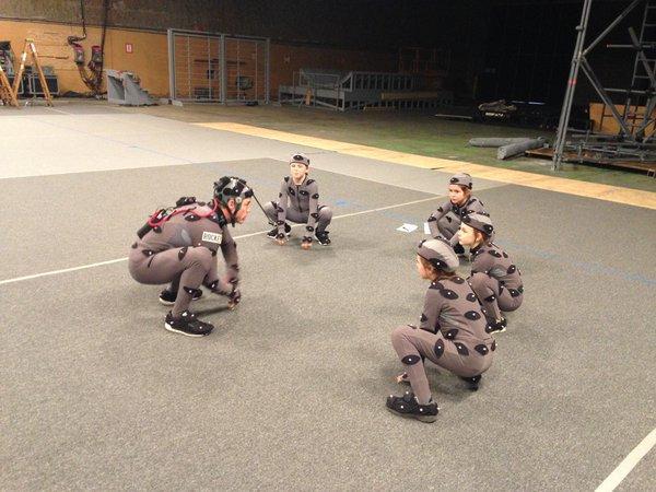 Un momento delle riprese in motion capture