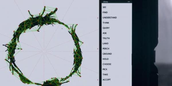 In <i>Arrival</i>, con l'aiuto dei computer si ricostruisce il significato dei logogrammi, che gli alieni compongono contestualmente: la sintassi è frutto di una concezione temporale non lineare.