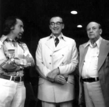 Da sinistra Robert Silverberg, A.E. van Vogt e Horace L. Gold nel 1976