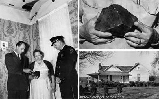 Nelle foto il buco nel soffitto, Eugene e Ann Hodges, e a destra il frammento in primo piano e la casa degli Hodges