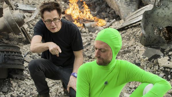 James Gunn e Sean Gunn mentre prepara una ripresa in motion capture.