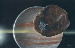Ricostruzione artistica di una sonda in avvicinamento ad Amaltea, una delle lune minori di Giove (NASA/JPL/Michael Carroll).