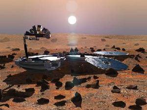 Ed ecco come sarebbe dovuto apparire il Beagle 2, dispiegato e operativo. Si nota sulla sinistra il braccio multiuso.
