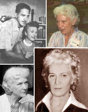 Alcune foto di diverse epoche che ritraggono C.L. Moore. In alto a sinistra con il marito Henry Kuttner