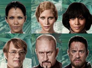 Tom Hanks e Halle Berry in alcuni dei personaggi che interpretano in Cloud Atlas.