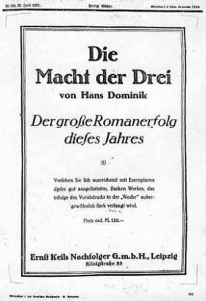La copertina della prima edizione del primo romanzo di Hans Dominik