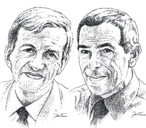 Carlo Fruttero e Franco Lucentini (illustrazione di Giuseppe Festino)
