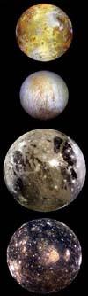 I quattro satelliti galileiani in ordine secondo la distanza da Giove: Io, Europa, Ganimede, Callisto
