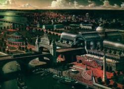 Una panoramica della Londra vittoriana alternativa di Steamboy (creato da Katsuhiro Otomo, 2004), che risente profondamente dell'influsso della Macchina della Realtà.