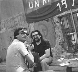 Remo Guerrini (a sinistra) e Giuseppe Lippi a un convegno di Un'Ambigua Utopia, 1978
