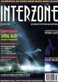 La copertina del numero 200 di Interzone, storica rivista britannica di fantascienza.