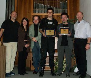 La premiazione del Lovecraft: da sinistra Forte, Daniela e Lippi, i due vincitori Torello e Cicconi e Franco Clun