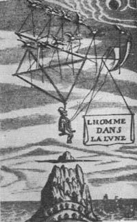 Homme dans la Lune: Il vescovo Goodwin risolve il problema del volo interplanetario (illustrazione d'epoca)