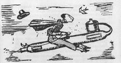 Il razzo a vapore di Golightly: illustrazione umoristica da un giornale inglese