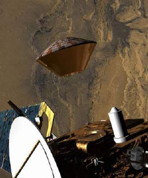 Illustrazione artistica che mostra la Mars Express mentre sgancia il guscio d'atterraggio dentro il quale si trova il Beagle 2.