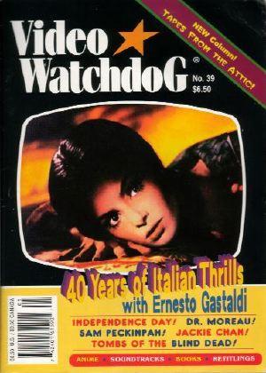 Copertina di <i>Video Watchdog</i> n. 39, 1997, che mostra l'attrice Dalia Lahvi in <i>La frusta e il corpo</i> di Bava (1963)