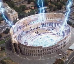 Fulmini dal cielo sul Colosseo in <i>The Core</i>.