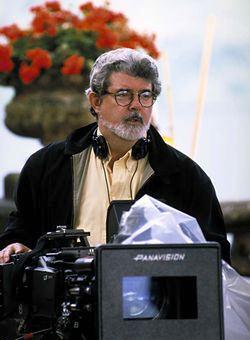 George Lucas durante le riprese sul Lago di Como