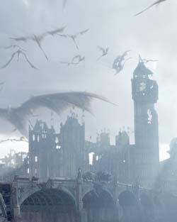 Una Londra devastata dall'assalto dei draghi, come appare in <i>Reign Of Fire</i>