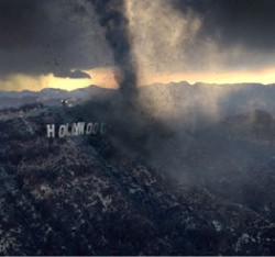 Una scena dei tornadi che devastano la California in <i>The Day After Tomorrow.</i> Praticamente <i>The Day After Hollywood</i>.
