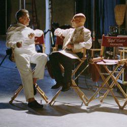 Ian McKellen e Patrick Stewart durante una pausa della lavorazione del film