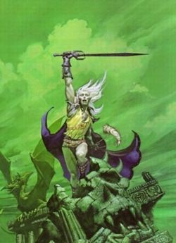 La stupenda copertina della prima edizione di Elric, disegnata da Michael Whelan