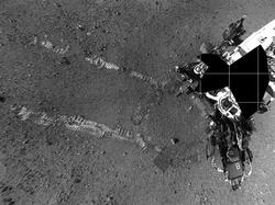 Proiezione polare assemblata da varie fotografie scattate dalle macchine fotografiche di navigazione di Curiosity