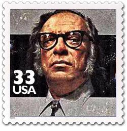 Un ipotetico francobollo asimoviamo immaginato dai nostri grafici