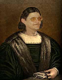 Lanfranco Fabriani truccato da Boccaccio, uno dei personaggi del suo romanzo