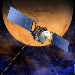 Un'illustrazione della Mars Express in orbita intorno a Marte (ESA-D. Ducros)