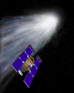 Un'illustrazione in cui la Stardust sta per entrare nella chioma della cometa
