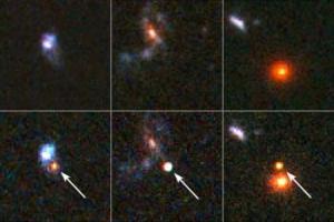 Tre supernovae distanti. Sopra è visibile l'immagine prima dell'esplosione della stella e sotto la stessa immagine con la supernova