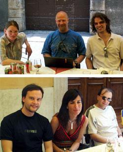 La riunione della redazione: sopra da sinistra Annetta Soppelsa, Franco Clun, Andrea D'Angelo; sotto Riccardo Coltri, Marisella Raiola e Antonio Piras