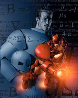 Tony Stark e il suo alter ego Iron Man in una copertina dell'omonimo albo