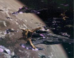 Un fotogramma dall'episodio finale di DS9, <i>Quel che si lascia</i>, nel quale non mancano spettacolari battaglie spaziali. Gli eccellenti effetti visivi sono supervisionati da David Stipes.