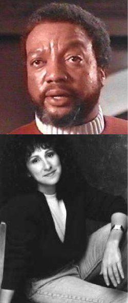 Sopra, Paul Winfield in <i>Star Trek II - l'ira di Khan</i>; sotto Cecily Adams