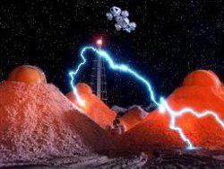 Problemi nella zona deposito per le scorie nucleari sulla Luna nel primo episodio della serie <i>Spazio:1999</i>, dal titolo <i>Separazione</i>.