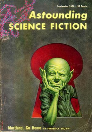 La famosa copertina di Frank Kelly Freas per la prima edizione di <i>Martians, Go Home</i>