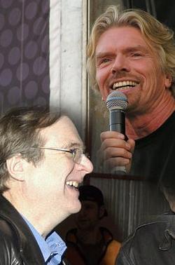 I due investitori dell'industria spaziale: Richard Branson (in alto) e Paul Allen