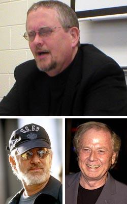 Sopra Orson Scott Card, sotto Steven Spielberg (a sinistra) e Wolfgang Petersen