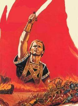 Il manifesto del film <i>Cartagine in fiamme</i> tratto dal libro di Salgari