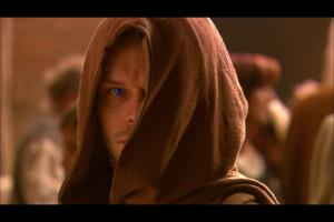 "Lo sguardo di Paul Atreides (Alec Newman) in ""Children of Dune""."