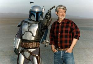George Lucas in compagnia di Jango Fett