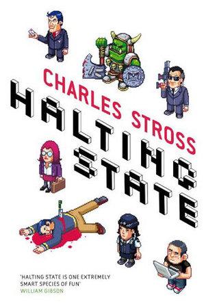 Copertina di un'edizione UK di Halting State di Charles Stross