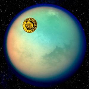 La Huygens viaggia verso Titano. L'immagine del pianeta è una vera foto (in falsi colori) ripresa dalla sonda Cassini (Credits: ESA)