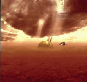 La Huygens verso un cielo e una terra che nessuno ha mai visto (Credits: ESA)