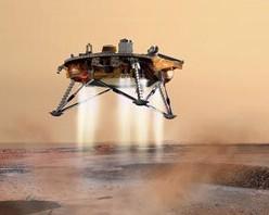 Illustrazione della fase finale della discesa del Phoenix Mars Lander (fonte: NASA)
